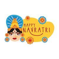 happy navratri celebration with laces and goddess AMBA decorative flat style vector