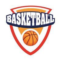 basketball tournament shield with basketball vector