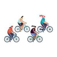 mujeres jóvenes con máscaras médicas en bicicletas vector