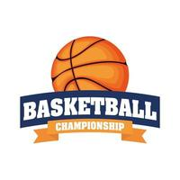 basketball tournament crest with basketball vector