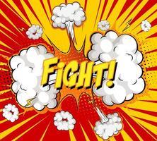 Texto de lucha en explosión de nube cómica sobre fondo de rayos vector