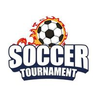 soccer tournament icon with ball on fire vector