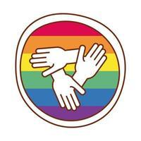hands in teamwork over gay pride colors vector