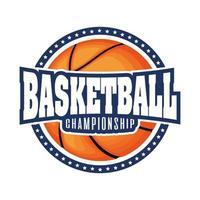 Cresta del torneo de baloncesto con baloncesto y estrellas. vector