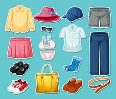 Set of mix outfits isolated vector