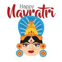 happy navratri celebration with goddess AMBA flat style vector