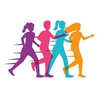 young people silhouettes running vector