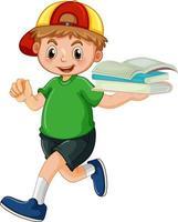 Un niño feliz sosteniendo un personaje de dibujos animados de libros sobre fondo blanco. vector