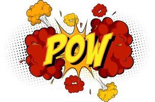 palabra pow sobre fondo de explosión de nube cómica