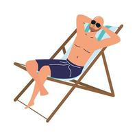 man wearing swimsuit seated in beach chair vector