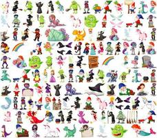 Set of fantasy cartoon characters and fantasy theme isolated on white background vector