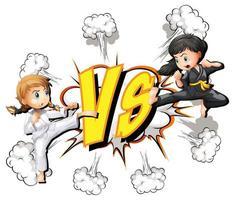 dos niñas peleando sobre un fondo blanco vector