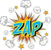 palabra zap sobre fondo de explosión de nube cómica