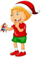 Chico lindo con sombrero de Navidad y jugando con su juguete sobre fondo blanco. vector