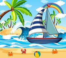 escena de playa con un velero. vector