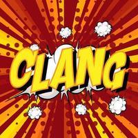 Bocadillo de diálogo cómico de redacción clang en explosión vector
