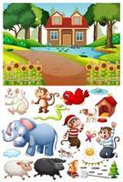 una casa en la escena de la naturaleza con personajes y objetos de dibujos animados aislados vector