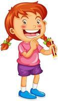 Una niña sosteniendo un personaje de dibujos animados de lápiz aislado sobre fondo blanco. vector