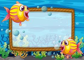 Blank frame template with exotic fishes cartoon character in the underwater scene vector