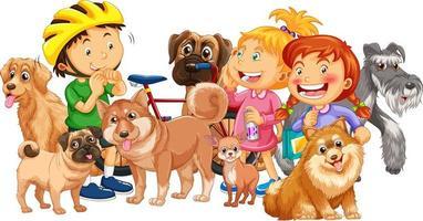 Grupo de niños con sus perros sobre fondo blanco. vector
