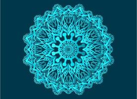 Blue ornamental, floral and abstract arabesque mandala design vector