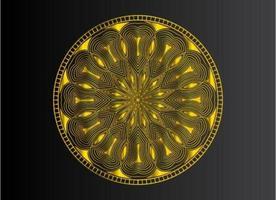 diseño de mandala arabesco ornamental, floral y abstracto dorado vector