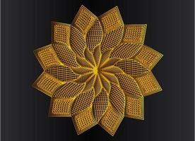 Golden ornamental, floral and abstract arabesque mandala design vector