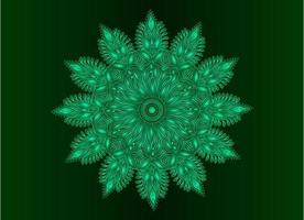 Green ornamental, floral and abstract arabesque mandala design vector