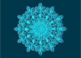diseño de mandala arabesco ornamental, floral y abstracto azul