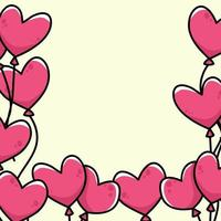 heart cartoon border background cute illustration