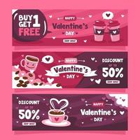 Valentine's Day Marketing Banner for Coffee Shop vector