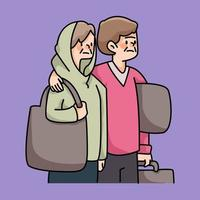 immigrants people in need cartoon illustration vector