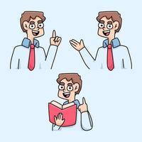 teacher teaching instructions cartoon illustration vector