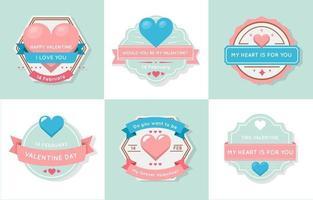 Blue And Pink Pastel Heart Label vector