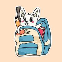 conejo dentro de una bolsa útiles escolares dibujo ilustración vector