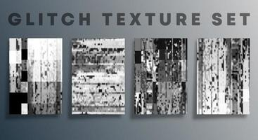 Set of glitch texture template for the banner, flyer, poster, cover brochure, and other backgrounds. Vector illustration