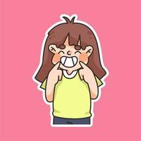 linda chica sonriendo signo ilustración de dibujos animados lindo vector