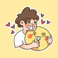 boy hugging a big happy face emoji cute cartoon  illustration vector