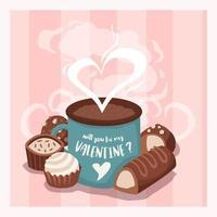 Chocolate And Hot Chocolate in Valentine Mug vector