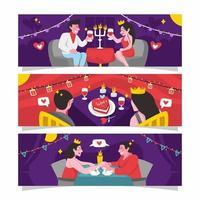 Intimate Dinner On Valentine's Day vector