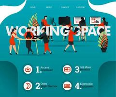 Creative people are sharing room at WORKING SPACE. people are developing business. can use for, landing page, web, mobile app, poster, flyer, vector illustration, online promotion, internet marketing
