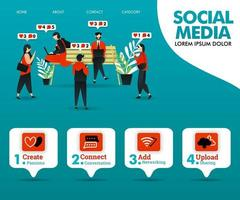 la gente está ocupada interactuando en las redes sociales vector