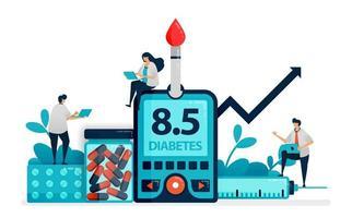 El médico y las personas controlan el nivel de azúcar en sangre con un medidor de glucosa. chequeo de diabetes tipo dos. dieta para enfermedades no transmisibles. comprobar la insulina. ilustración para tarjeta de visita, banner, folleto, volante