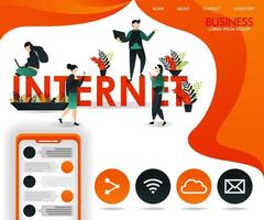 young people move between the words INTERNET. can use for, landing page, template, web, mobile app, poster, banner, flyer, vector illustration, online promotion, internet marketing, finance, trading