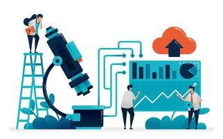 Los médicos y científicos investigan con microscopio. Analizar resultado de laboratorio de estadísticas en hospital y clínica. aprender química, física, biología. ilustración para tarjeta de visita, banner, folleto, volante vector