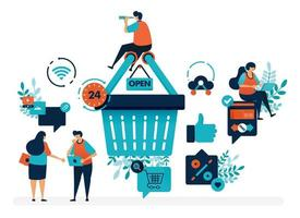 People are around shopping basket to get promos and discounts. User satisfaction level with thumb and love. Flat vector illustration for landing page, web, website, banner, mobile apps, flyer, poster