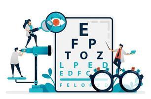 El médico comprueba la salud de los ojos del paciente con un gráfico de snellen, gafas para enfermedades oculares. clínica oftalmológica o tienda de gafas ópticas. óptico profesional. ilustración para tarjetas de visita, pancartas, folletos, volantes, anuncios vector