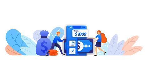 envíe, ahorre y transfiera dinero fácilmente con la aplicación móvil. Préstamo de transacciones comerciales con un concepto de ilustración de vector de sistema en línea para página de destino, web, interfaz de usuario, pancarta, folleto, póster, fondo