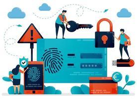 tecnología de reconocimiento de huellas dactilares para la seguridad de la identificación del usuario. aplicación de escáner táctil para proteger los datos de información personal. identificación de protección de seguridad cibernética para proteger el pago. inicio de sesión con huella digital vector