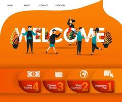 WELCOME word with an orange theme and lots of people around. can use for, landing page, template, ui, web, mobile app, poster, banner, flyer, vector illustration, online promotion, internet marketing